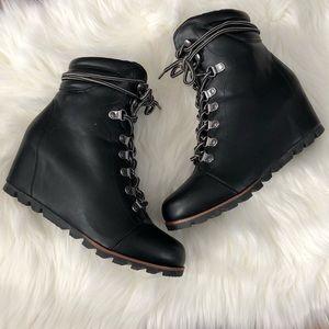eed6c6c170b Esprit Shoes - Esprit Sammie Black Wedge Lace Up Boots Sz 8.5